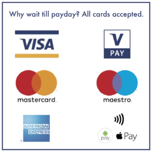 pay with card visa mastercard maestro applepay emerican express